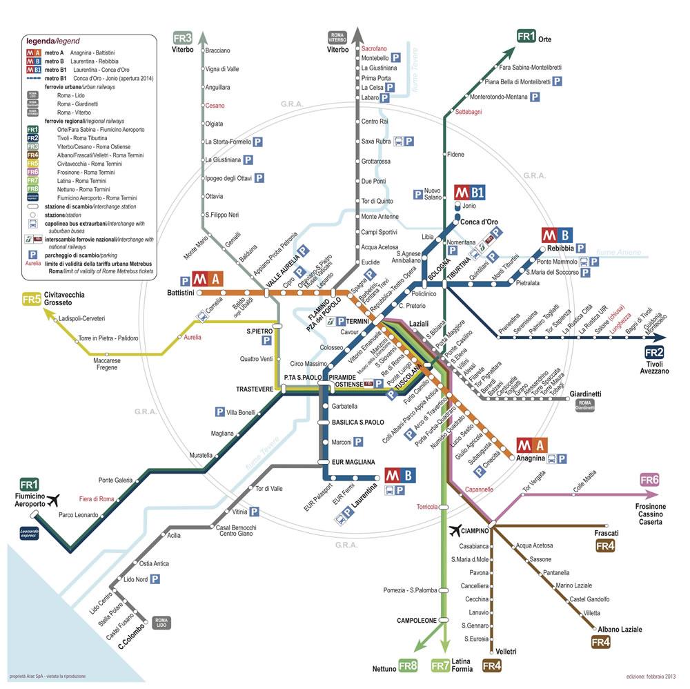 Mappa delle linee dei trasporti dell'ATAC di Roma