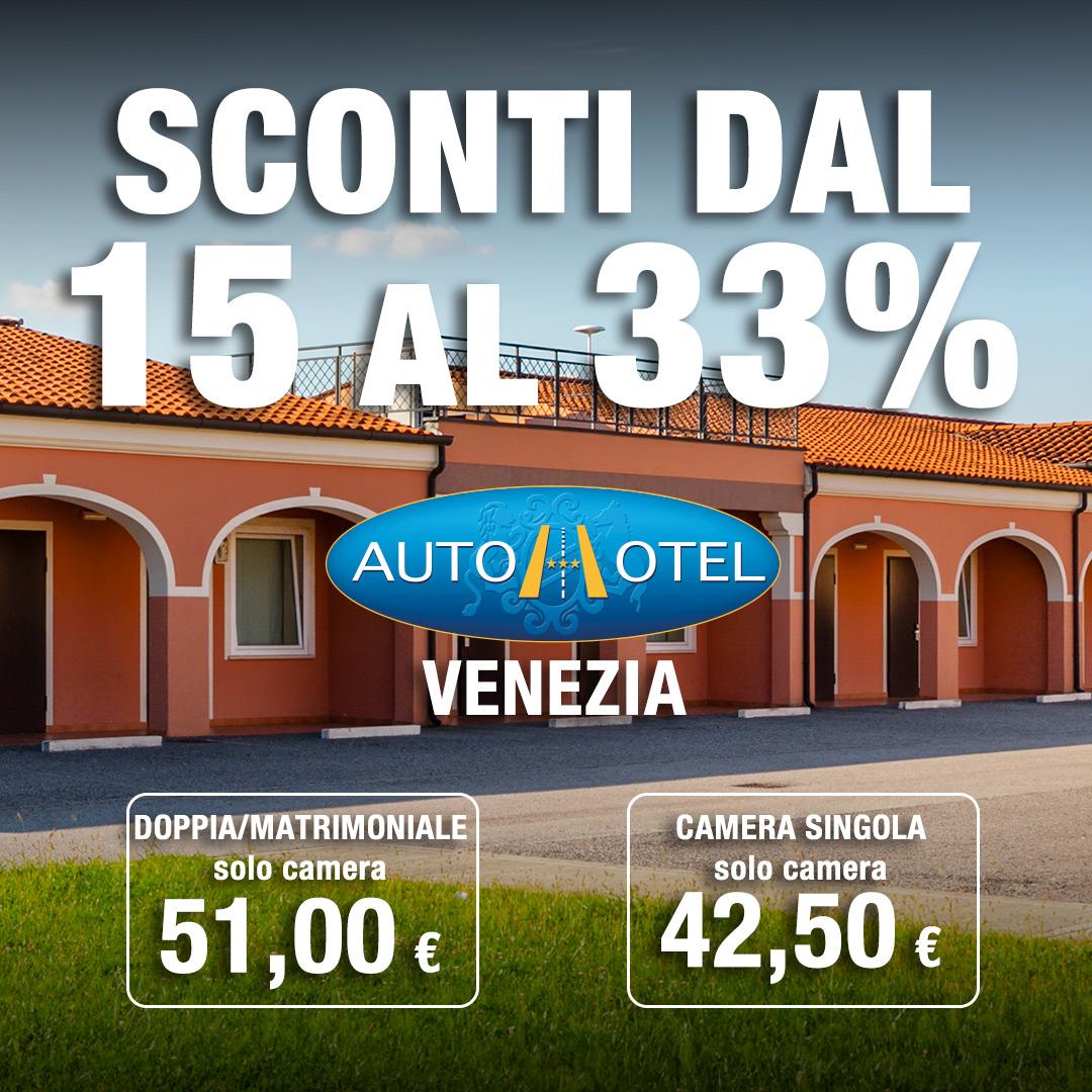 Autohotel Venezia sconti dal 15 al 33%
